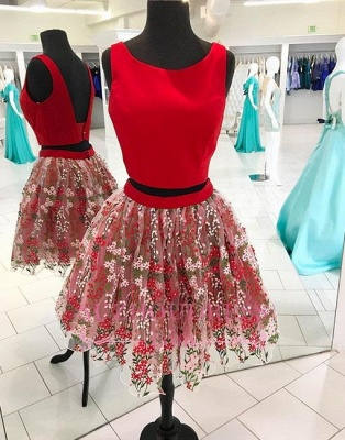 A-line two-pieces Short Tulle Flowers Red Backless Homecoming Dress_1
