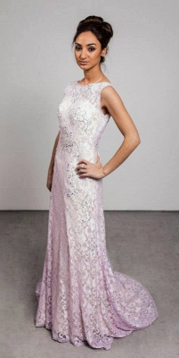 Crystal Pink Lcae Long Evening Dress with Beadings New Arrival Open Back Prom Dress_1