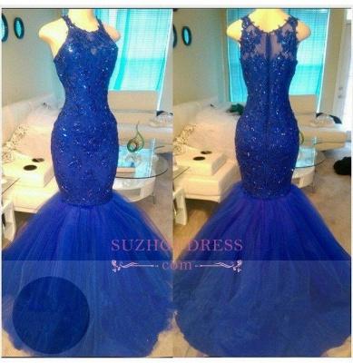 Appliques  Mermaid Elegant Royal-Blue Sleeveless Beadings Tulle Evening Dresses BA6146_1
