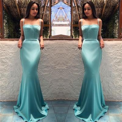 Spaghetti Straps Sexy Mint Evening Dresses  | Sleeveless Mermaid Long  Formal Prom Dress_4