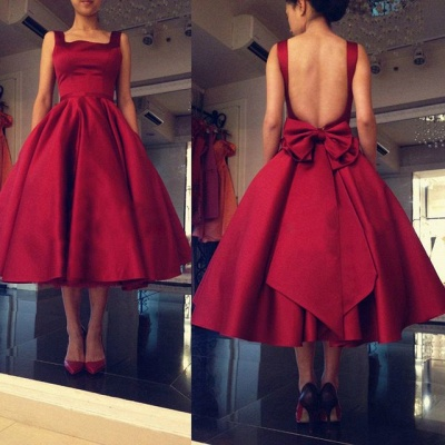 New Arrival Open Back Short Party Dresses A-Line Tea Length Bowknot Homecoming Gowns_3