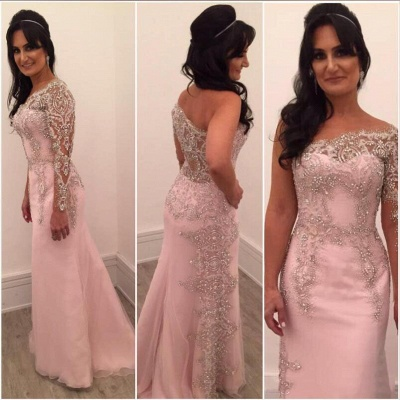 Glamorous One Shoulder Pink Evening Dresses  Appliques Prom Dresses with Beadings_3