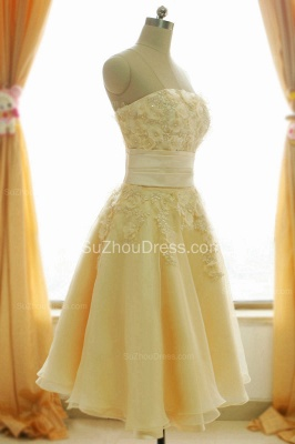 Timeless Short Bridal Dresses Strapless Beading Sequined Crystal Flowers Charming Chiffon Wedding Gowns_5