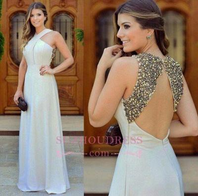 Beautiful Long Zipper Chiffon Beadings Sleevless halter Evening Dress_1