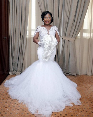 Elegant Mermaid Tulle Lace Wedding Dresses |  Long Sleeves Bridal Gowns_3