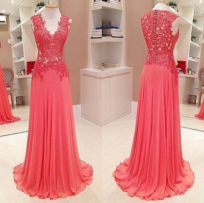 Long Chiffon Lace Prom Dresses Sleevelss V-neck Evening Gowns_3