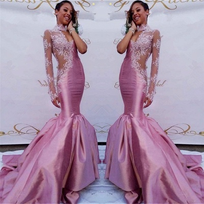 Gorgeous Pink Lace Prom Dresses | Sexy Sheath Mermaid Prom Dresses_3