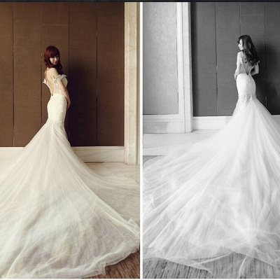 White Off-the-Shoulder Sexy Wedding Dresses Cathedral Train Backless Tulle  Bridal Gowns_3