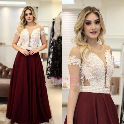 Vintage Short-Sleeves A-Line Prom Dresses | Pearls Floor Length Evening Dresses 2017_1