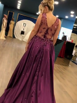 Sexy V-Neck Sleeveless Mermaid Long Prom Dress Fashion Overskirt Appliques Evening Dresses_5