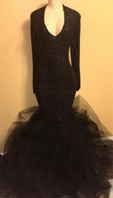 Black Sequins Long Sleeve Prom Dress  | V-neck Ruffles See Through Tulle Evening Gown BA8155_1