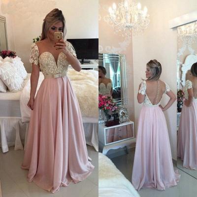 Pink Sheer Tulle  Prom Dress Sheer Back Latest Evening Dress_2