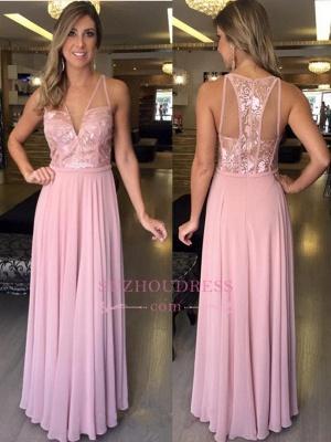 Lace Pink Sleeveless Chiffon Evening Dresses   A-Line Long V-Neck Prom Dresses_1