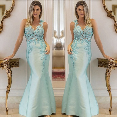 Elegant Straps Sleeveless Sequins Appliques Prom Dress Lace Beading Mermaid Evening Dresses On Sale_3
