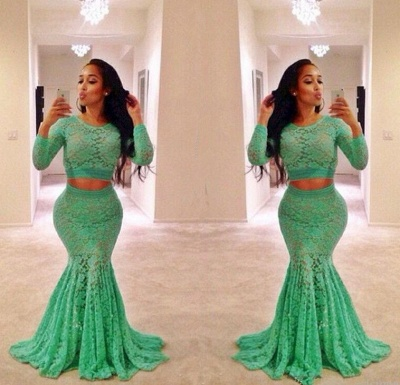 Sexy Green Two Pieces Lace Evening Dress Long Sleeve Mermaid Long Formal Special Occasion Dresses_2