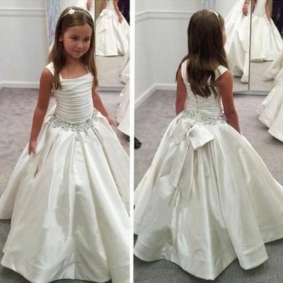 Modest A-Line White Children Dresses Sleeveless Beading Flower Girl Gowns with Bowknot_3