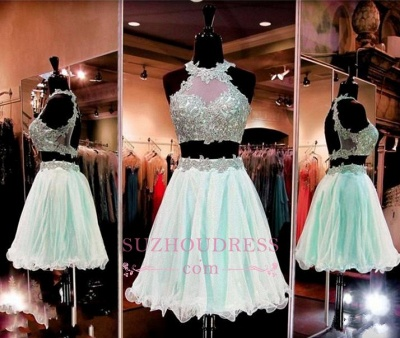Lace Appliques Two Pieces Homecoming Dresses Sleeveless Halter  Short Party Dress_1