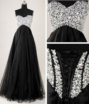 Elegant Sweetheart Crystal Long Prom Dress with Beadings Floor Length Lace-Up Plus Size Dresses_2