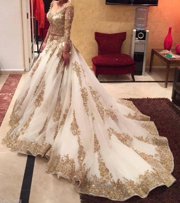 Custom Made Gold Lace Wedding Dress  Long Sleeve Luxurious Bridal Dress TB0326_1