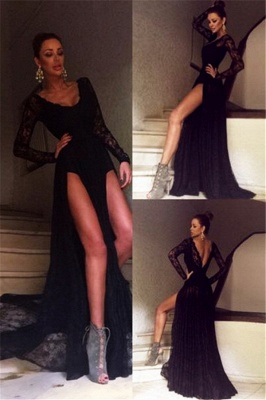 Black Long Sleeve Evening Gowns Sexy Front Slit Sexy Lace  Prom Dress_5