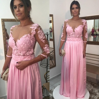Pink Prom Dress 3/4 Sleeved Long Evening Dress with Lace Appliques_1