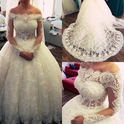 Amazing Ball-Gown Off-the-Shoulder Lace Long-Sleeves Pearls Wedding Dresses_3