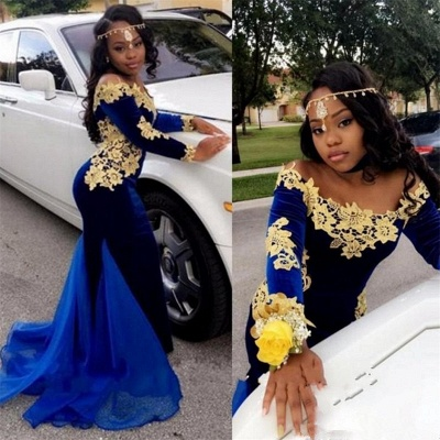 Off The Shoulder Gold Lace Prom Dress |  Royal Blue Velvet Sexy Evening Gown FB0321_4