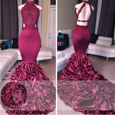 Mermaid Open Back Lace Evening Dress  High Neck Beadings Newest Prom Dress_4