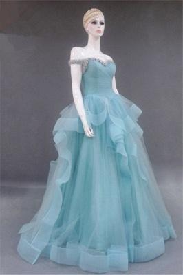 Tiered Pleats Sweetheart Prom Dresses Rhinestone Floor Length Sleeveless  Evening Dresses_4