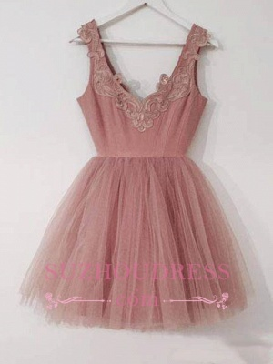 Cute Pink Lace Appliques Cocktail Dress Tulle A-line Short Homecoming Dresses_4
