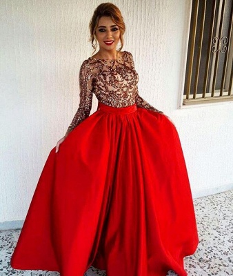 Sexy Backless Long Sleeve Prom Dress  Red Long Champagne Sequins Evening Gown with Sash FB0209_3