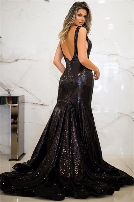 Jewel Black Sequins Mermaid Prom Dress SexySleeveless Evening Dresses with Open Back_3