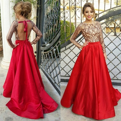 Sexy Backless Long Sleeve Prom Dress  Red Long Champagne Sequins Evening Gown with Sash FB0209_4