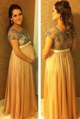 Popular Empire Short Sleeve Long Maternity Dress Chiffon Lace Belt Plus Size Dress for Pregnant_1