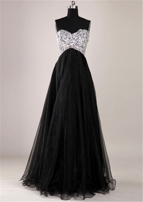 Elegant Sweetheart Crystal Long Prom Dress with Beadings Floor Length Lace-Up Plus Size Dresses_1