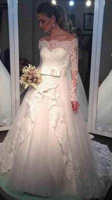 Bow Tulle Lace Off-the-shoulder Bridal Dresses  Long Sleeve Elegant Wedding Dress_4
