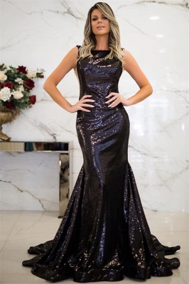Jewel Black Sequins Mermaid Prom Dress SexySleeveless Evening Dresses with Open Back_1