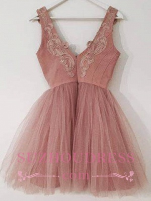 Cute Pink Lace Appliques Cocktail Dress Tulle A-line Short Homecoming Dresses_3