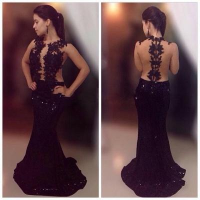 Black Sequin Formal Dresses Illusion Lace Tulle Mermaid Prom Dress BA3967_3
