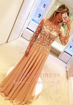 Chiffon Appliques Gorgeous Long-Sleeve Long Prom Dresses_2