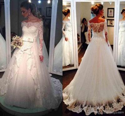 Bow Tulle Lace Off-the-shoulder Bridal Dresses  Long Sleeve Elegant Wedding Dress_5