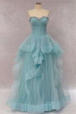 Tiered Pleats Sweetheart Prom Dresses Rhinestone Floor Length Sleeveless  Evening Dresses_1