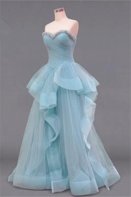 Tiered Pleats Sweetheart Prom Dresses Rhinestone Floor Length Sleeveless  Evening Dresses_2