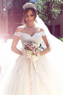 Off-the-shoulder Lace Bridal Ball Gowns Puffy Popular Tulle Appliques  Wedding Dresses_3