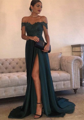 Off-the-Shoulder  Formal Dress Long Lace Split Floor Length Elegant Evening Dress_1