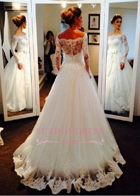 Bow Tulle Lace Off-the-shoulder Bridal Dresses  Long Sleeve Elegant Wedding Dress_1