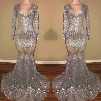 Sexy Sequined Silver Prom Dresses | V-Neck Long Sleeveless  Evening Dresses FB0370_3
