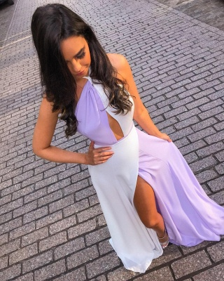 White and Lavender Sexy Split Evening Dresses  | Halter Sleeveless Chiffon  Formal Dress_3