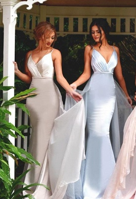 Mermaid Panel-Train V-Neck Spaghetti-Straps Elegant Bridesmaid Dress_1