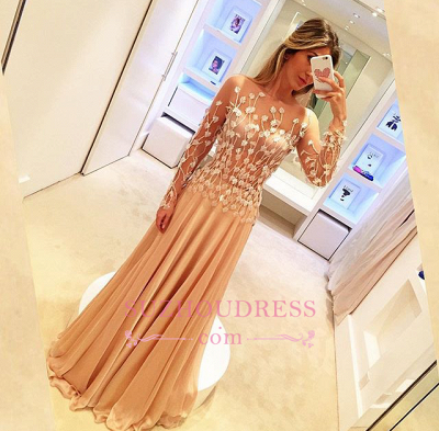 Chiffon Appliques Gorgeous Long-Sleeve Long Prom Dresses_1